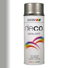 Motip deco alkyd hoogglans lak RAL 9006 wit aluminium metallic - 400 ml.