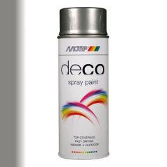 Motip deco alkyd hoogglans lak RAL 9007 grijs/aluminium - 400 ml.