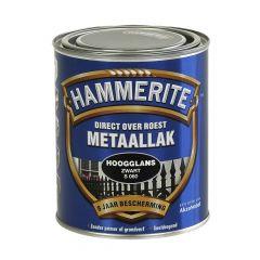 Hammerite direct over roest metaallak hoogglans zwart - 750 ml.