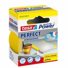 Tesa extra power perfect textieltape geel hangdoosje - 2,75 m x 38 mm.
