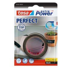 Tesa extra power perfect textieltape zwart blisterverpakking - 2,75 m x 19 mm.