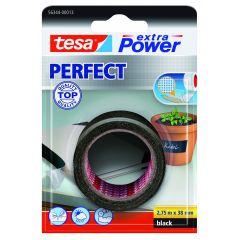 Tesa extra power perfect textieltape zwart blisterverpakking - 2,75 m x 38 mm.